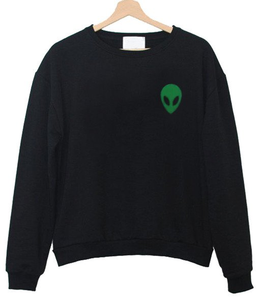 Alien Head Green Sweatshirt