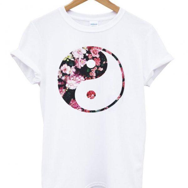Flowers Yin Yang Art Unisex Tshirt