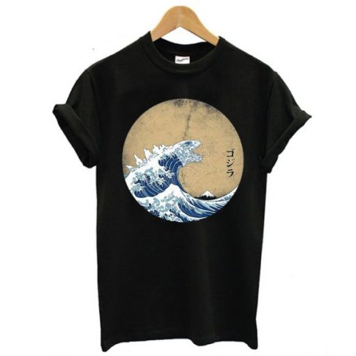 The Great Wave Of Kanagawa Godzilla T-shirt